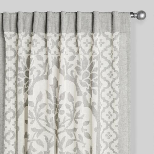 Gray and Ivory Sheer Cutwork Leno Curtains Set of 2