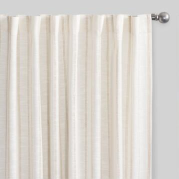 Ivory and Tan Dobby Stripe Slub Cotton Curtains Set of 2