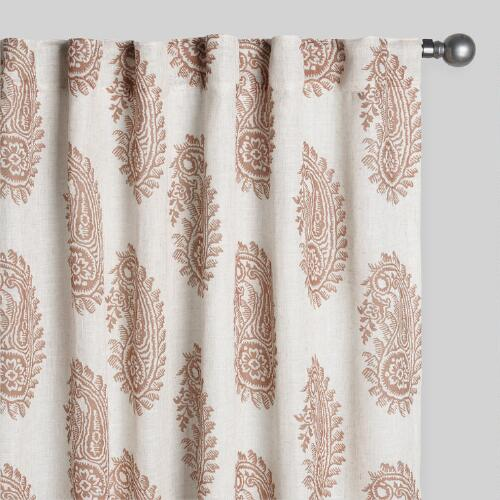 Tan Damask Basketweave Curtains Set of 2
