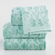 Aqua and Ivory Medallion Alyssa Sculpted Towel Collection