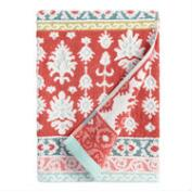 Coral and Aqua Ikat Miriam Sculpted Bath Towel