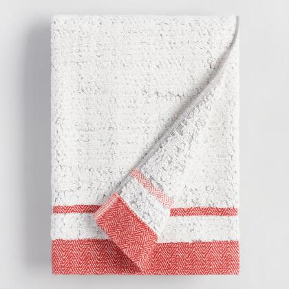 Coral and Gray Candice Sculpted Bath Towel