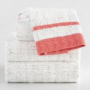 Coral and Gray Candice Sculpted Towel Collection