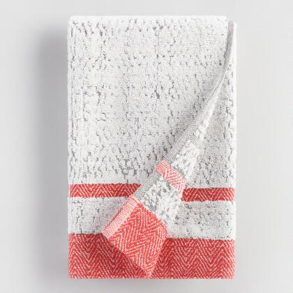 Coral and Gray Candice Sculpted Hand Towel