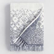 White and Indigo Tribal Jacquard Zahara Bath Towel