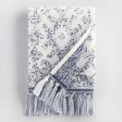 White and Indigo Tribal Jacquard Zahara Hand Towel