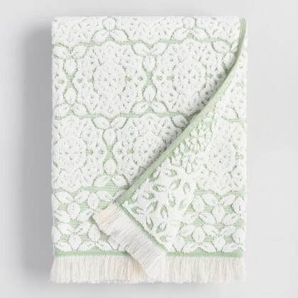 Ivory and Green Medallion Rosalind Sculpted Bath Towel