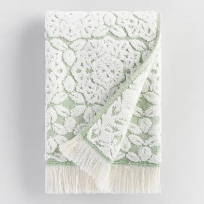 Ivory and Green Medallion Rosalind Sculpted Hand Towel