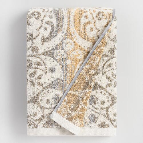Gold and Taupe Ombre Ariana Bath Towel