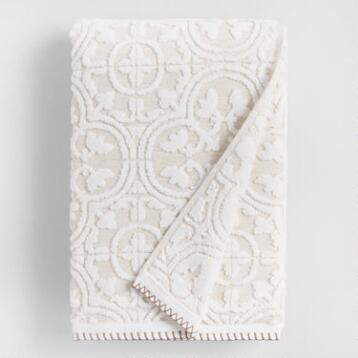 White and Taupe Linen Tess Sculpted Bath Towel