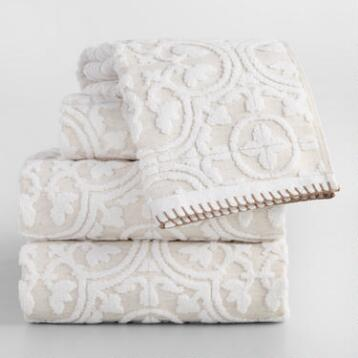 White and Taupe Linen Tess Sculpted Towel Collection
