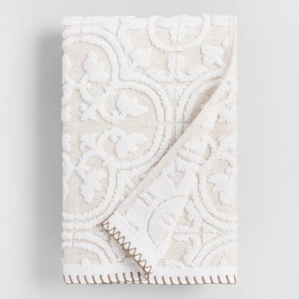 White and Taupe Linen Tess Sculpted Hand Towel