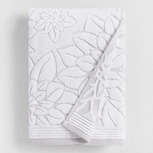 Gray Floral Angelica Sculpted Bath Towel World Market