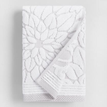 Gray Floral Angelica Sculpted Hand Towel