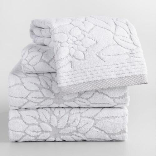 Gray Floral Angelica Sculpted Towel Collection