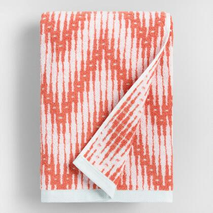 Burnt Coral Sydney Chevron Jacquard Bath Towel
