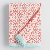 Coral and Aqua Orchid Foulard Sculpted Bath Towel