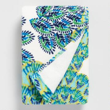 Blue and Green Peacock Printed Velour Hand Towel