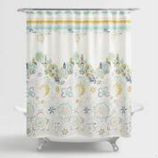 Blue and Green Floral Drawing Shower Curtain