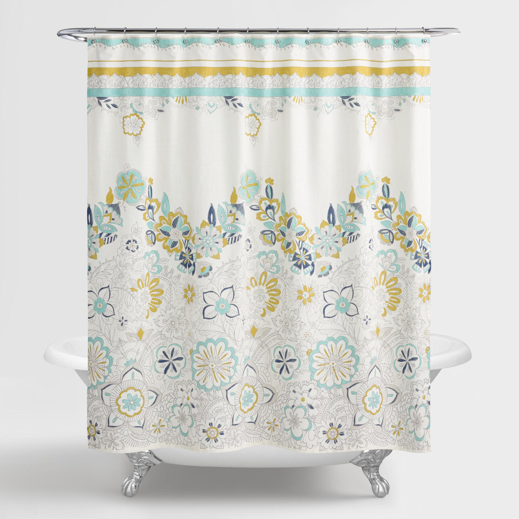 Blue And Green Floral Drawing Shower Curtain World Market