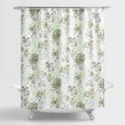 Aqua and Green Underwater Floral Valeda Shower Curtain