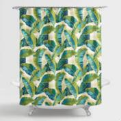 Aqua and Green Tropicale Leaf Shower Curtain