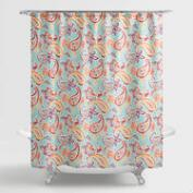 Aqua Paisley Valentino Shower Curtain