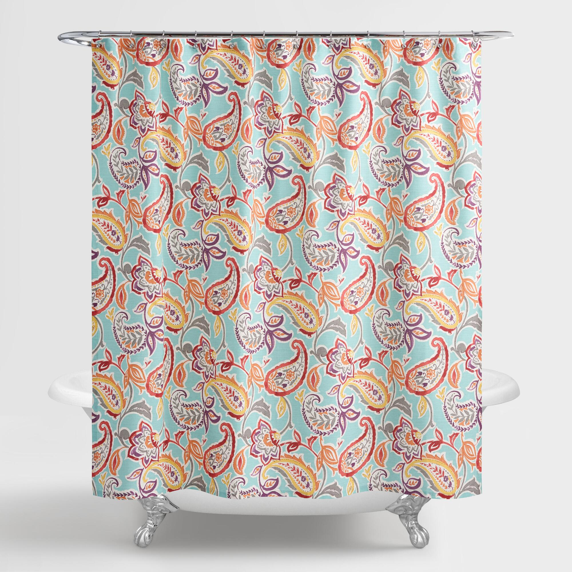 Aqua Paisley Valentino Shower Curtain World Market