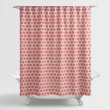 Aqua and Coral Orchid Foulard Shower Curtain