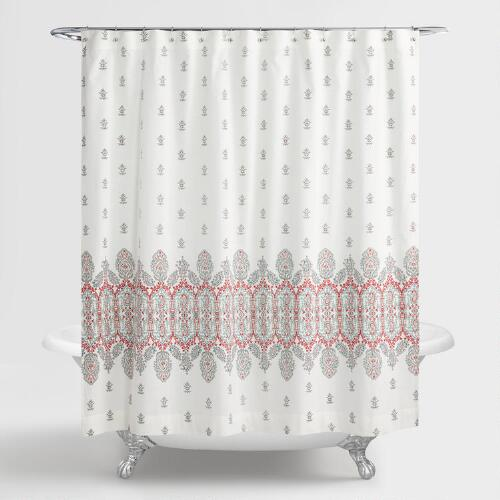 Aqua And Coral Indian Devi Shower Curtain
