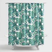 Blue and Green Peacock Shower Curtain