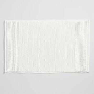 Ivory Pleated Bath Mat