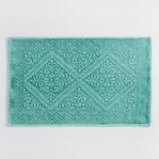 Teal Diamond Sunfade Woven Bath Mat