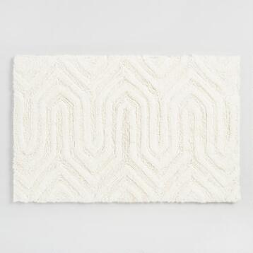 Ivory Chevron Geometric Tufted Bath Mat