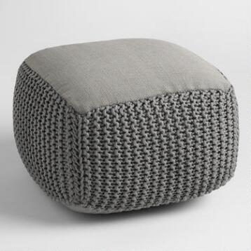 Gray Square Indoor Outdoor Pouf