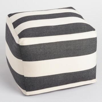 Black and Ivory Square Indoor Outdoor Pouf