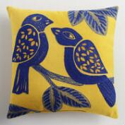 Bird Embroidered Indoor Outdoor Throw Pillow