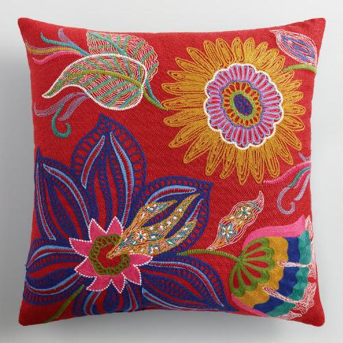 Red Floral Embroidered Indoor Outdoor Throw Pillow World Market