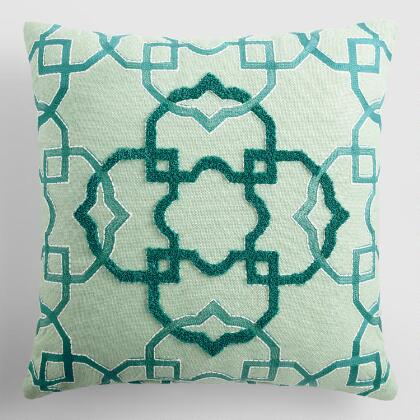 Blue Tile Embroidered Indoor Outdoor Throw Pillow