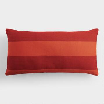Red and Orange Stripe Indoor Outdoor Lumbar Pillow