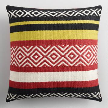 Warm Striped Embroidered Indoor Outdoor Throw Pillow