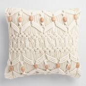Macrame and Wood Bead Indoor Outdoor Throw Pillow