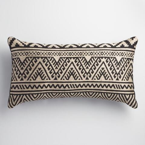 Puzzle Outdoor Decorative Pillow : Black and Taupe Kilim Indoor Outdoor Lumbar Pillow World Market