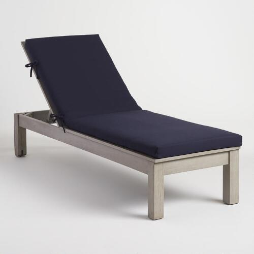 Blue outdoor chaise lounge cushion world market for Blue chaise lounge cushions