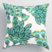 Aqua Peacock Outdoor Throw Pillow
