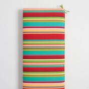 Striped Coastal Blossom Outdoor Bench Cushion