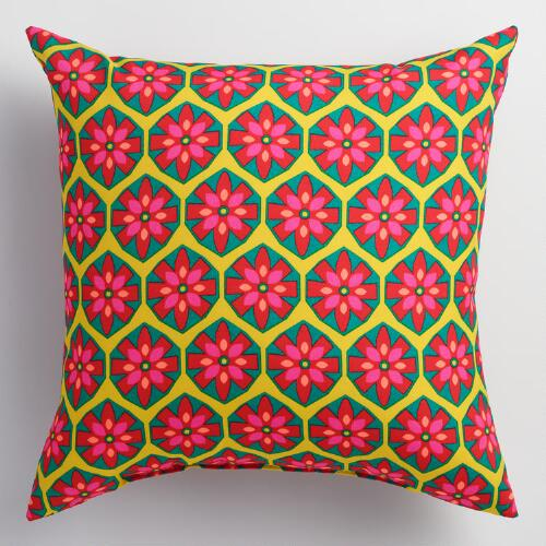 Pink Floral Decorative Pillows : Pink Floral Geometric Outdoor Throw Pillow World Market