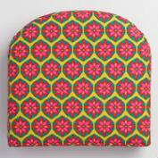 Pink Floral Geometric Gusset Indoor Outdoor Chair Cushion