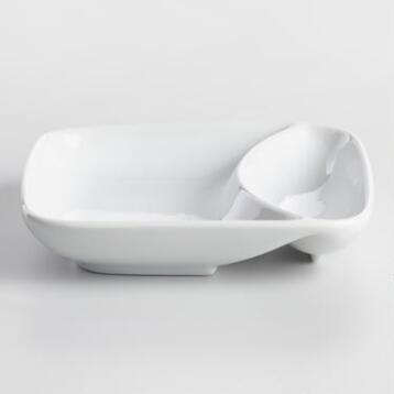 White Porcelain 2 Section Chip and Dip Dish
