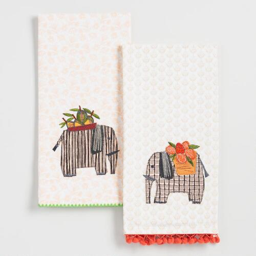 Elephant Embroidered Kitchen Towels Set of 2